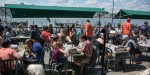 Dog-friendly restaurant patio rested on the Hudson River.